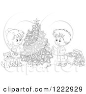 Clipart Of An Outlined Cat Watching Children Decorating A Christmas Tree Royalty Free Vector Illustration