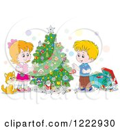 Clipart Of A Cat Watching Children Decorating A Christmas Tree Royalty Free Vector Illustration