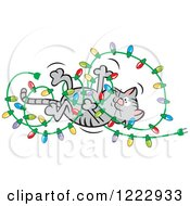 Clipart Of A Cat Playing With And Tangling Up Christmas Lights Royalty Free Vector Illustration