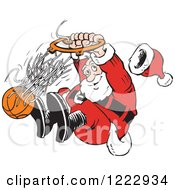 Clipart Of Santa Slam Dunking A Basketball Royalty Free Vector Illustration by Johnny Sajem #COLLC1222934-0090