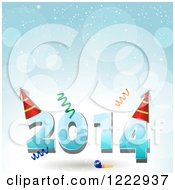 Clipart Of New Year 2014 With Party Hats And Confetti Over Blue Flares Royalty Free Vector Illustration