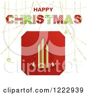 Happy Christmas Greeting Over A Striped Christmas Tree Tucked Into Slots On White