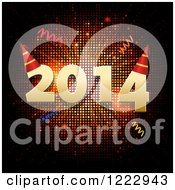 Clipart Of New Year 2014 With Party Hats And Confetti Over Mosaic Royalty Free Vector Illustration