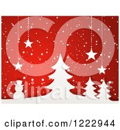 Clipart Of White Paper Trees And Snowman With Suspended Christmas Stars And Snow On Red Royalty Free Vector Illustration by elaineitalia