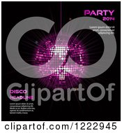 Clipart Of A Purple Disco Ball On Black With New Year 2014 Sample Text Royalty Free Vector Illustration