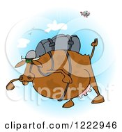 Clipart Of A Fat Cow Skydiving Royalty Free Illustration