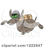 Clipart Of A Dog Skydiving Royalty Free Illustration by djart
