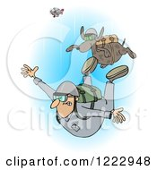 Clipart Of A Man And Dog Skydiving With The Plane In The Background Royalty Free Illustration