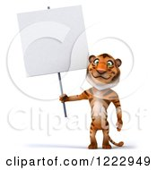 Clipart Of A 3d Tiger Mascot Standing And Holding A Sign Royalty Free Illustration