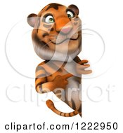 Clipart Of A 3d Tiger Mascot Looking Around And Pointing To A Sign Royalty Free Illustration