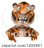 Clipart Of A 3d Tiger Mascot Pointing Down To A Sign Royalty Free Illustration