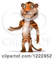 Clipart Of A 3d Tiger Mascot Standing And Presenting Royalty Free Illustration