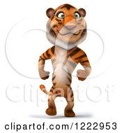Clipart Of A 3d Tiger Mascot Walking Upright Royalty Free Illustration by Julos