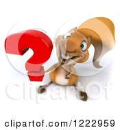 Clipart Of A 3d Squirrel Holding Up A Question Mark Royalty Free Illustration by Julos