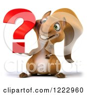 Clipart Of A 3d Squirrel Holding A Question Mark Royalty Free Illustration by Julos