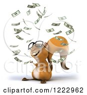 Clipart Of A 3d Squirrel Wearing Glasses And Throwing Money 2 Royalty Free Illustration