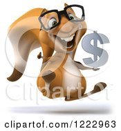 Clipart Of A 3d Squirrel Wearing Glasses Holding A Thumb Up And Jumping With A Dollar Symbol Royalty Free Illustration