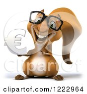 Clipart Of A 3d Squirrel Wearing Glasses And Holding A Euro Symbol Royalty Free Illustration