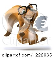 Clipart Of A 3d Squirrel Wearing Glasses Holding A Thumb Up And Jumping With A Euro Symbol Royalty Free Illustration