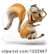 Clipart Of A 3d Squirrel Wearing Glasses Jumping And Pointing Royalty Free Illustration