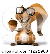 Clipart Of A 3d Squirrel Wearing Glasses And Holding An Acorn Royalty Free Illustration