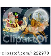 Clipart Of Rudolph And Another Reindeer Leading Santas Christmas Sleigh Over A Full Moon Royalty Free Vector Illustration