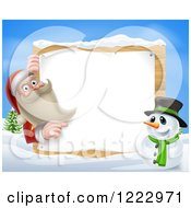 Clipart Of Santa Claus And A Snowman By A Sign In The Snow Royalty Free Vector Illustration