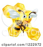Clipart Of A Cute Bee Over Honeycombs Royalty Free Vector Illustration by AtStockIllustration