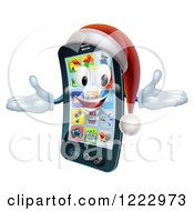 Clipart Of A Welcoming Christmas Smart Phone Mascot Wearing A Santa Hat Royalty Free Vector Illustration