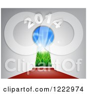 Clipart Of A Red Carpet Leading To A 2014 New Year Key Hole Doorway Royalty Free Vector Illustration