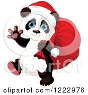 Clipart Of A Cute Christmas Panda Carrying Santas Sack And Waving Royalty Free Vector Illustration by Pushkin
