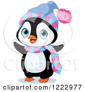 Clipart Of A Cute Baby Penguin Waving And Wearing A Scarf And Hat Royalty Free Vector Illustration