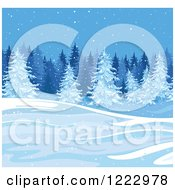 Clipart Of A Winter Landscape With Evergreen Trees And Snow Royalty Free Vector Illustration