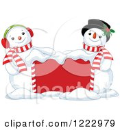 Clipart Of A Red Sign With Happy Snowmen Royalty Free Vector Illustration