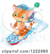 Clipart Of A Cute Ginger Kitten Riding On A Boogie Board In The Snow Royalty Free Vector Illustration