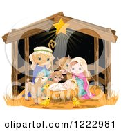 Star Shining On Baby Jesus Surrounded By Mary Joseph And Cute Animals In A Manger