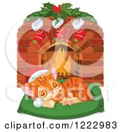 Clipart Of A Cute Ginger Kitten Sleeping On A Pillow In Front Of A Fireplace With Christmas Stockings Royalty Free Vector Illustration