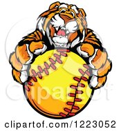 Clipart Of A Friendly Tiger Mascot Holding Out A Softball Royalty Free Vector Illustration