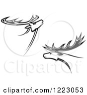 Clipart Of Black And White Deer Or Moose With Antlers 3 Royalty Free Vector Illustration by Vector Tradition SM