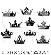 Clipart Of Black And White Crowns 4 Royalty Free Vector Illustration