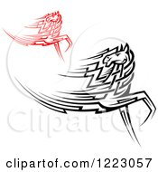 Clipart Of Running Black And Red Tribal Horses Looking Back Royalty Free Vector Illustration