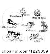 Clipart Of Horses With Text 4 Royalty Free Vector Illustration