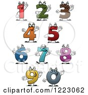 Clipart Of Number Characters Holding Up Fingers Royalty Free Vector Illustration
