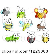 Clipart Of Cute Happy Bugs Royalty Free Vector Illustration by Vector Tradition SM