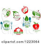 Clipart Of Vegetarian Food Designs Royalty Free Vector Illustration