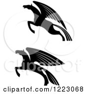 Clipart Of Black And White Winged Pegasus Horses Ready To Take Flight Royalty Free Vector Illustration