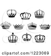 Clipart Of Black And White Crowns 3 Royalty Free Vector Illustration