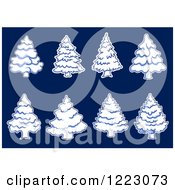 Clipart Of Snow Flocked Evergreen Christmas Trees On Blue Royalty Free Vector Illustration by Vector Tradition SM