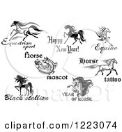 Clipart Of Horses With Text 3 Royalty Free Vector Illustration