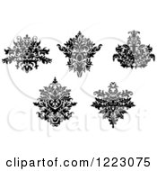Clipart Of Black And White Floral Damask Designs 3 Royalty Free Vector Illustration
